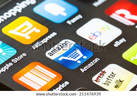 LONDON, UK- FEBRUARY 5, 2015: Popular shopping apps shown on a smart phone screen. - stock photo