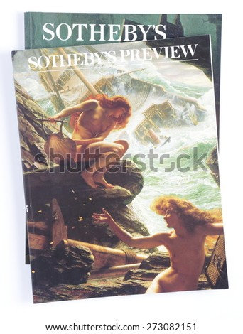 LONDON, UK - FEBRUARY 07, 2014:Sotheby's Preview, Nov 1994, published by Sotheby's Holdings, Inc, on display in London, UK. Sotheby's is one of the world's largest brokers of fine and decorative art. - stock photo