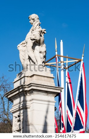 LONDON/UK - FEBRUARY 18 : Statue representing West Africa outside Buckingham Palace in London on February 18, 2015 - stock photo
