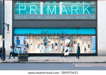LONDON,UK-FEBRUARY 14,2016:The exterior of Primark on February the 14th, 2016, in London, England, UK. Primark is one of the leading budget clothing retailers in the uk. - stock photo