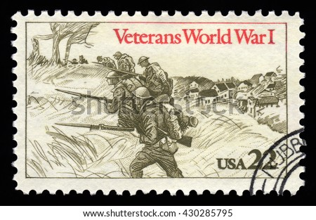London, UK, February 5 2011 - Vintage 1985 United States of America cancelled postage stamp  showing an engraved image of veterans of World War One - stock photo