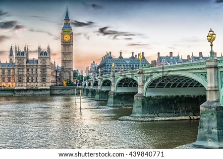London, UK. Houses of Parliament in Westminster. - stock photo