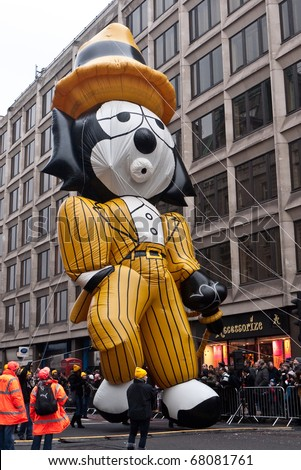 LONDON UK- JANUARY 1 A giant inflatable Felix the Cat in a & LONDON UK JANUARY 1 Giant Inflatable Stock Photo (Royalty Free ...