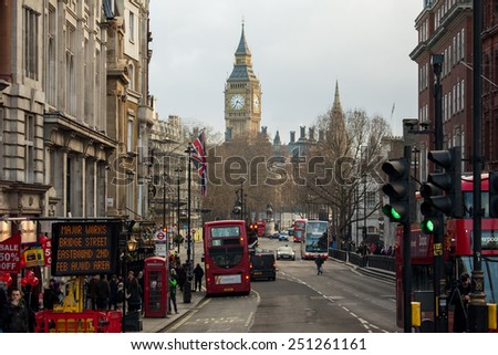 London, UK - January 30, 2015: Busy street life and traffic in London streets on Jan 30, 2015.