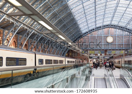 LONDON, UK  JANUARY 20, 2014: Eurostar terminal at London St Pancras International, showing platforms 7 and 8. The station is used by 45 million passengers annually and is London's gateway to Europe. - stock photo