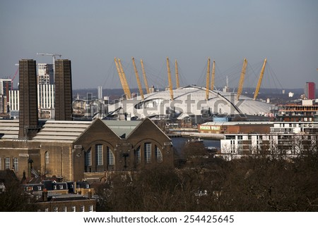 LONDON, UK - January 26th 2015: The magnificent view from the Greenwich Observatory taking in sights such as O2 Arena in London from across the River Thames - stock photo