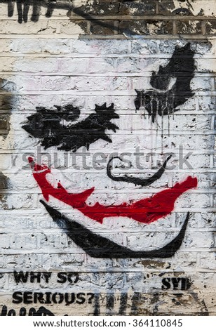 LONDON, UK - JANUARY 13TH 2016: Urban Street Art by Syd portraying The Joker from the Batman movie, in East London on 13th January 2016.