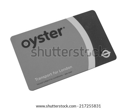 LONDON, UK - JANUARY 23, 2014: The Oyster Card uses near field communication technology for public transport ticketing in and around London isolated over white background