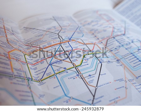 LONDON, UK - JANUARY 10, 2015: Tube map of the London Underground subway lines - stock photo