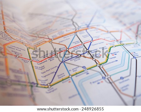 LONDON, UK - JANUARY 10, 2015: Tube map of the London Underground subway lines
