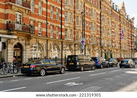 LONDON, UK - JULY 1, 2014:  A building on Edgeware road. A major road through north-west London, starting at Marble Arch in the City of Westminster and running north-west to Edgware. - stock photo