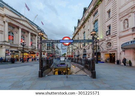 London, UK - July 28, 2015 - A london underground tube station sign on July 28, 2015 in London, England. London's underground railway is the oldest in the world, dating back to 1863. - stock photo