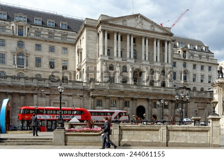 LONDON, UK - JULY 1, 2014: Bank of England. The central bank of the United Kingdom is also known as the �Old Lady� of Threadneedle Street. It is founded in 1694. - stock photo