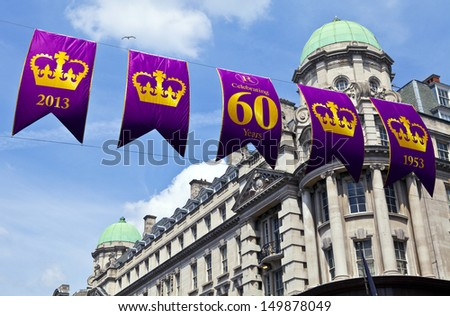 LONDON, UK - JULY 13, 2013: Banners in central London to commemorate the Royal Diamond Jubilee. - stock photo