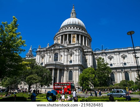 London, UK-July 03, Cathedral of St. Paul, July 03.2014 in London - stock photo