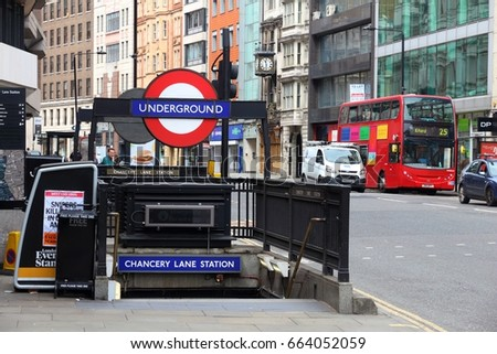 LONDON, UK - JULY 9, 2016: Chancery Lane Station in Holborn, London, UK. London is the most populous city in the UK with 13 million people living in its metro area.