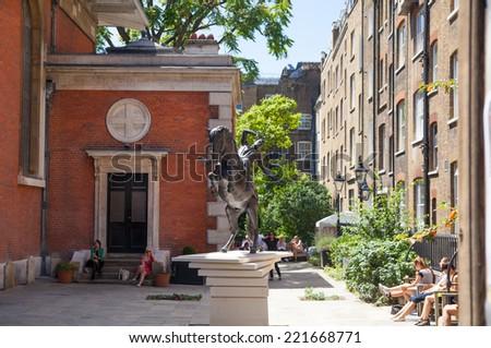 LONDON, UK - 22 JULY, 2014: Covent Garden little yard - stock photo