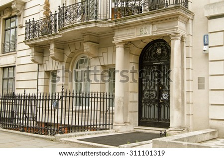 LONDON, UK - JULY 16, 2015: Headquarters of the Institute of Physics in Portland Place, Central London.   - stock photo