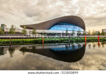 LONDON, UK - JULY 21, 2015: London Aquatics Centre in Queen Elizabeth Olympic Park, London, United Kingdom. It was designed by Pritzker Prize-winning architect Zaha Hadid in 2004.