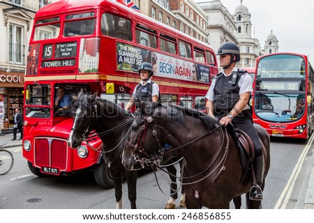 London, UK, July 20, London police on horseback, July 20.2014 in London - stock photo