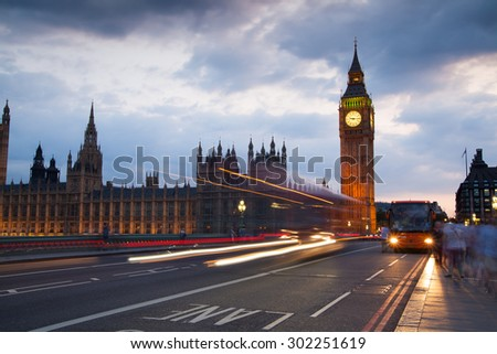 LONDON, UK - July 21, 2014: London sunset. Big Ben and houses of Parliament - stock photo