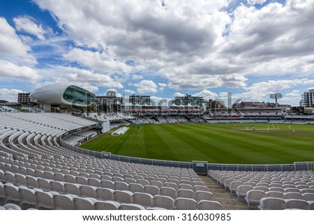 LONDON, UK - JULY 21, 2015: Lord's Cricket Ground in London, England. It is referred to as the home of cricket and is home to the world's oldest cricket museum. - stock photo