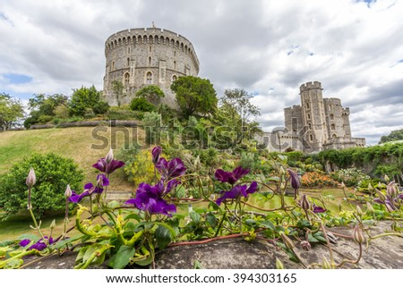 LONDON, UK - JULY 19, 2015: Outside view of Medieval Windsor Castle. Windsor Castle is a royal residence at Windsor in the English county of Berkshire. - stock photo