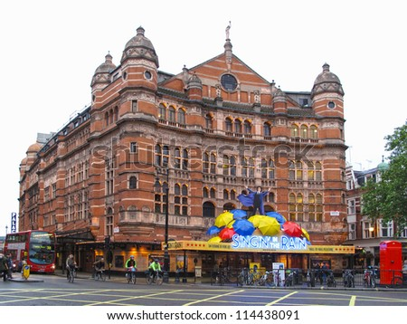 LONDON, UK - JULY 16: Palace Theatre on July 16, 2012, London, UK. Palace Theatre presents famous musical Singin' in the Rain, where uses and recycles more than 12000 litres of water each performance.
