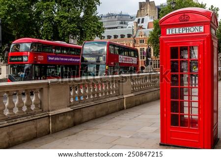 London, UK-July 20, red telephone box, July 20.2014 in London - stock photo