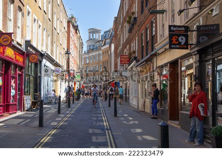 LONDON, UK - 22 JULY, 2014: Street with ships going to Covent Garden market
