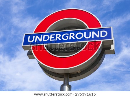 LONDON, UK - JULY 10TH 2015: A sign for the London Underground tube network in central London, on 10th July 2015. - stock photo