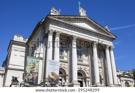LONDON, UK - JULY 10TH 2015: The facade of the Tate Britain Art Gallery in London, on 10th July 2015.