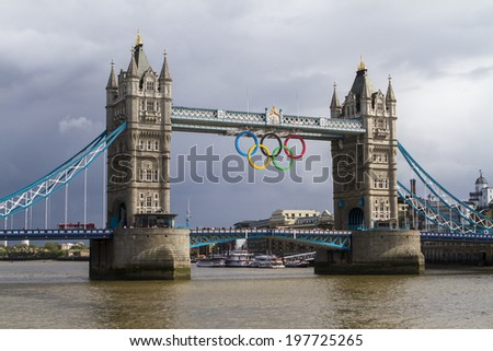 London, UK - July 1: The famous Tower Bridge in London, decorated for the 2012 Summer Olympics on July 1, 2012. - stock photo