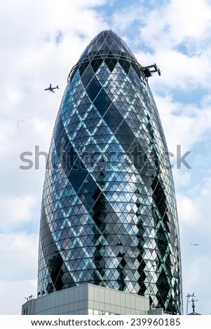 London, UK-July 20, the London skyscraper known as the gherkin, July 20.2014 in London - stock photo