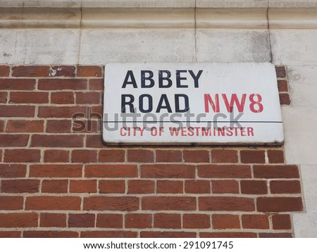 LONDON, UK - JUNE 10, 2015: Abbey Road sign made famous by the 1969 Beatles album cover - stock photo