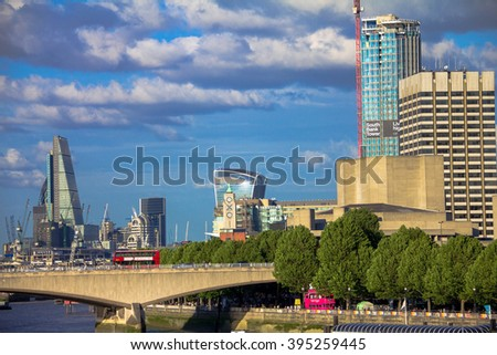 LONDON, UK - JUNE 5, 2015:  Cityscape  in late afternoon light from Hungerford Bridge.