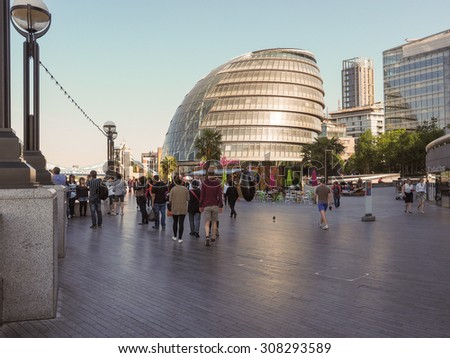 LONDON, UK - JUNE 11, 2015: Greater London Authority City Hall building designed by Lord Foster in 2002