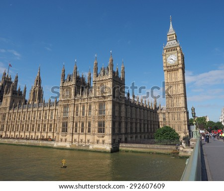 LONDON, UK - JUNE 10, 2015: Houses of Parliament aka Westminster Palace seen from Westminster Bridge - stock photo