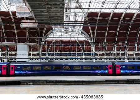 London, UK - June 19, 2016: London Paddington station. Much of the main-line station dates from 1854 and was designed by Isambard Kingdom Brunel