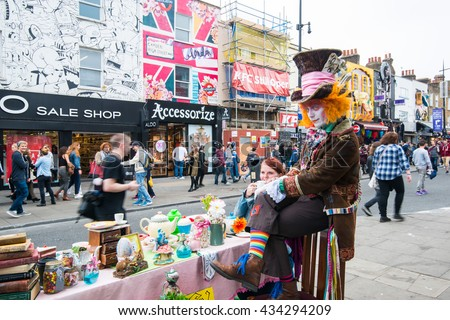 LONDON, UK - JUNE 04,2016: Mad Hatter's Tea Party at Camden Lock in London. - stock photo