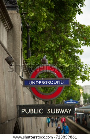 LONDON-UK, JUNE 8, 2017: One of Britains most identifiable symbols is the London roundel, since first incarnation in 1908 become a globally recognized commercial transport logo and a cultural icon