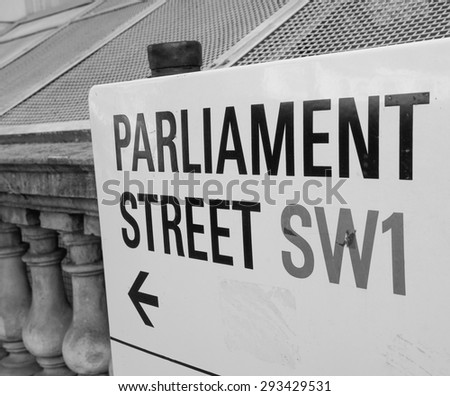 LONDON, UK - JUNE 09, 2015: Parliament Street sign in the City of Westminster in black and white