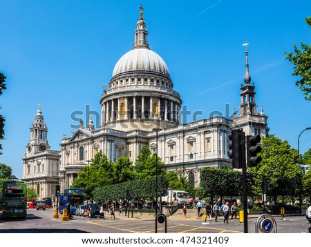 LONDON, UK - JUNE 11, 2015: People in front of St Paul Cathedral church (HDR)