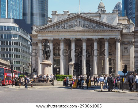 LONDON, UK - JUNE 11, 2015: People in front of The Royal Stock Exchange - stock photo