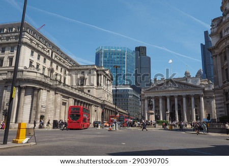 LONDON, UK - JUNE 11, 2015: People visiting the Bank of England - stock photo
