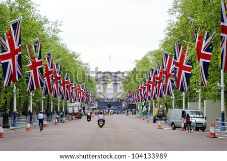 LONDON, UK - JUNE 1: Preparation and decoration of the Mall and Buckingham Palace for the Queen's Diamond Jubilee on June 1, 2012 in London. The main events will take place from June 2 until June 5. - stock photo
