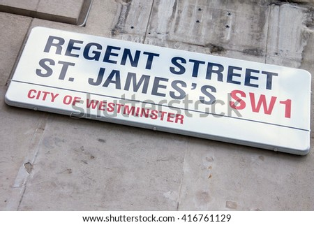 LONDON, UK - JUNE 4, 2015:  REGENT STREET ST. JAMES sign on the stone wall