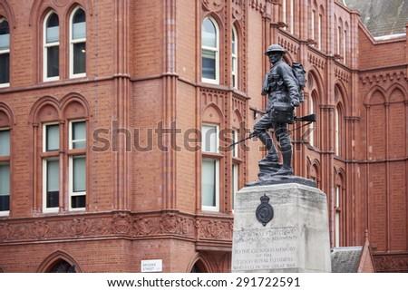 LONDON, UK - JUNE 23: Royal Fusiliers war memorial, by Albert Toft, in Chancery Lane. June 23, 2015 in London. - stock photo