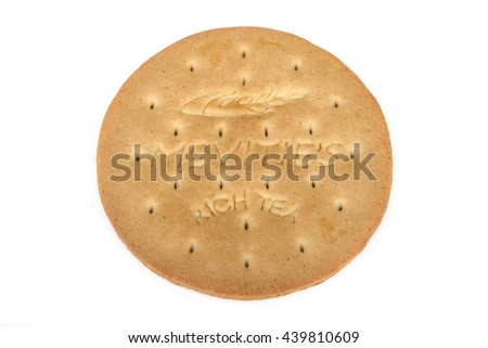 LONDON, UK - JUNE 16TH 2016: A McVities Rich Tea Biscuit isolated over a plain white background, on 16th June 2016.  McVities is a brand of British snack food and is owned by United Biscuits.