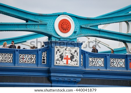 London/UK. June 19th 2016. The central section of London's iconic Tower Bridge, built between 1886-1894. - stock photo